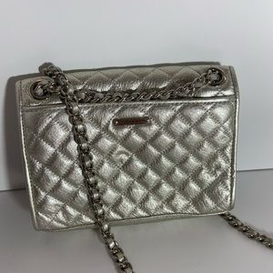 Rebecca mink off silver quilted purse